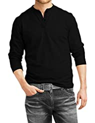 DENIMHOLIC Men's Cotton Henley Full Sleeve T Shirts For Men(Premium Black Henley T-Shirt)