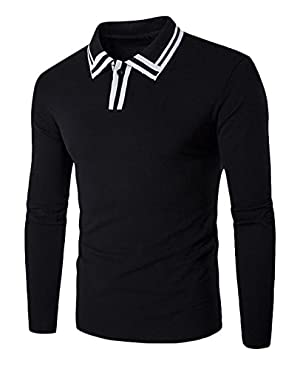 Genhao Men's Long Sleeve Slim Fit Lapel Polo Shirt black US M
