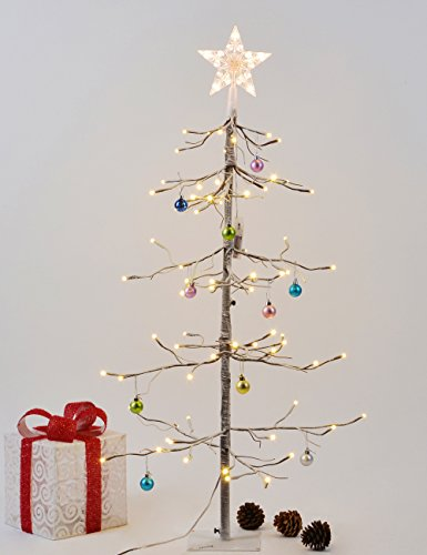 LightshareTM NEW 3FT 72L LED Fir Snow Tree,+Free Gift:10L LED Star Treetop Decoration Light,Home/Festival/Party/Christmas,Indoor and Outdoor Use,Warm White