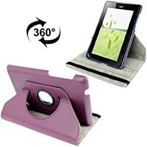 360 Degree Rotation Lichi Texture Leather Case with Holder for Acer Iconia B1-A71 (Purple)