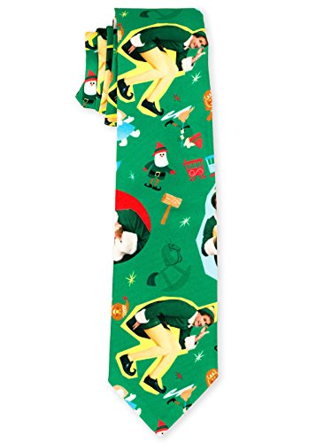 Men's The Festive Elf Holiday Ties Christmas Necktie in Green by Festified (Funny Men Ties compare prices)