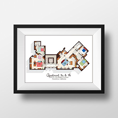 Big Bang Theory Art Print - Apartment Floor Plan - TV Memorabilia - TV Floor Plan - Print for Home of Sheldon, Leonard and Penny - TV Show Poster (Big Bang Theory Penny Poster compare prices)