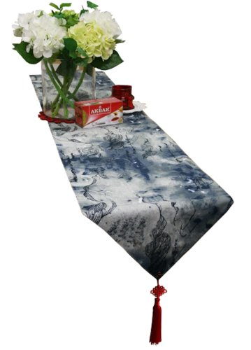 "75"" By 13""Chinese Ink Painting Table Runner Traditional Cotton Table-Cloth"