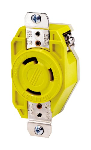 Leviton 26Cm-10 30 Amp, 125 Volt, Flush Mounting Locking Receptacle, Industrial Grade, Grounding, Corrosion Resistant, Yellow