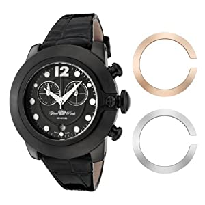 Glam Rock Unisex Quartz Watch With Black Dial Analogue Display And Leather Strap 0.96.2569