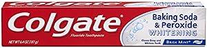 Colgate Baking Soda & Peroxide Whitening Fluoride Toothpaste, Brisk Mint Paste , 6.4 oz (181 g)