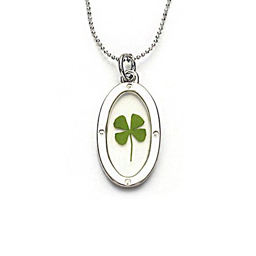 stainless-steel-real-four-leaf-clover-good-luck-symbol-clear-oval-shaped-pendant-necklace-16-18