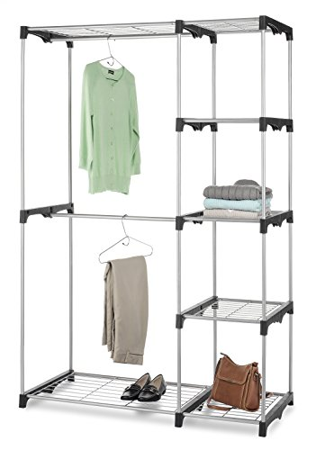 Whitmor 6779-3044 Double Rod Freestanding Closet with Steel and Resin Frame, 45.2 by 68-Inch, Silver (Bedroom Clothes Rack compare prices)