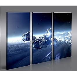 Bilder auf Leinwand Spaceship Raumschiff Kunstdruck XXL Bild Poster Leinwandbilder Wandbilder