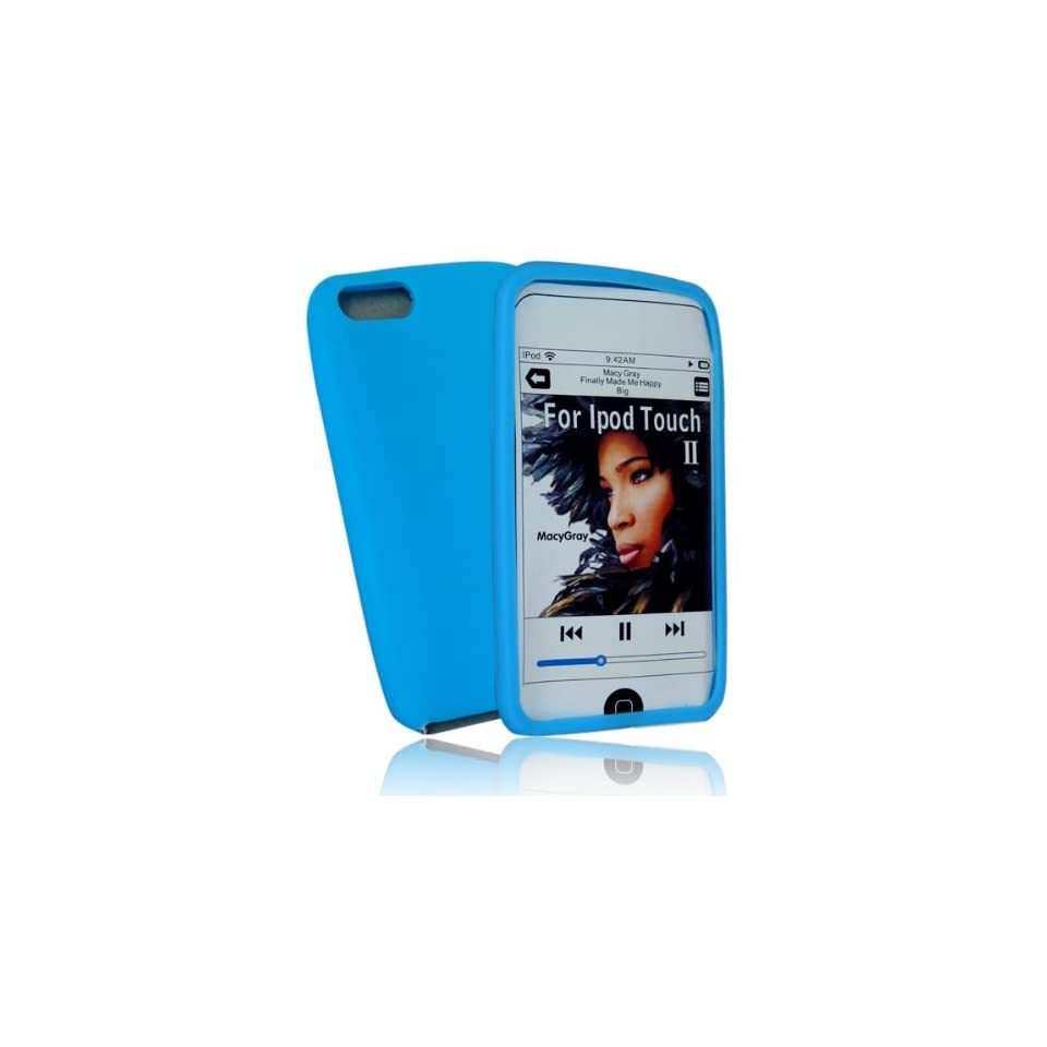 mobile palace  Blue silicone case cover pouch holster for Apple ipod touch 2