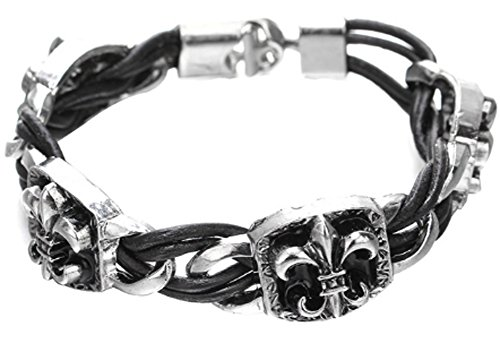 SaySure - Arrive Vintage Punk Silver Color Stainless Steel Leather