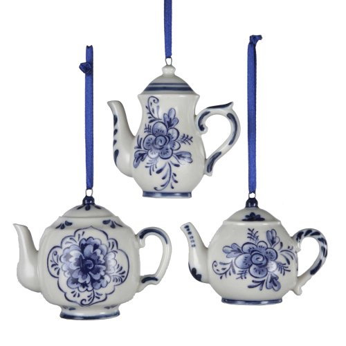 Kurt Adler Porcelain Delft Blue Teapot Ornament