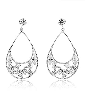 TRUSUPER Bohemian Style White Gold Plated Clear Color Cubic Zirconia Dangle Earrings