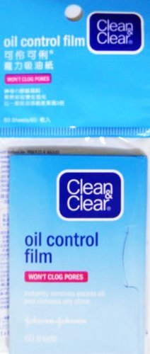 Clean & Clear Oil Control Film Blotting Paper, Oil-absorbing Sheets for Face, 60 Sheets (Pack of 4)