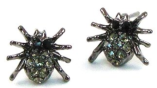 Cute Little Black Hematite Plated Crystal Crawling Spider Charm Stud Earrings