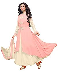 Sitaram womans georgette Light Pink colour anarkali gown style semistiched material with dupatta.