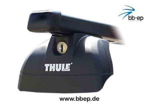 Thule Stahldachträger 90433606 Komplett System inkl. Schloss für BMW 5-series Touring mit integrierter Dachreling - inkl. 1 l Kroon Oil ScreenWash