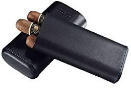 Visol Products Caseti Vicenza Ring Gauge Cigar Case, Large, Black Leather