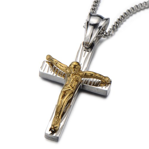 Small Unisex Crucifix Cross Pendant Necklace for Men and Women Stainless Steel Silver Gold Two-tone (Necklace Stainless Steel Two Tone compare prices)