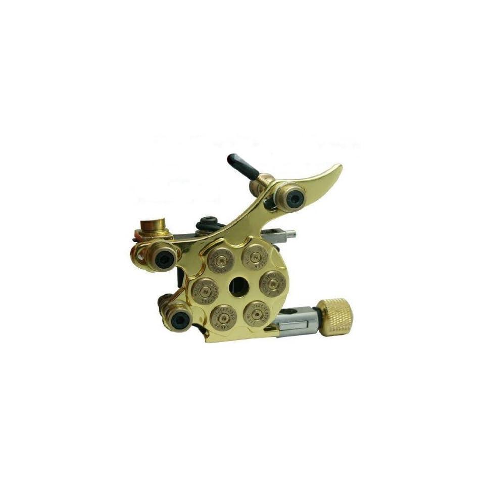 HAND MADE Bullet Revolver Tattoo GUNS Cast Iron Machine 10 COILS KIT