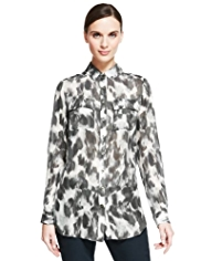 Autograph Pure Silk Animal Print Blouse