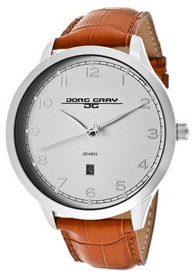 Jorg Gray Leather Silver Dial Men's watch #JG1060-20 from Jorg Gray