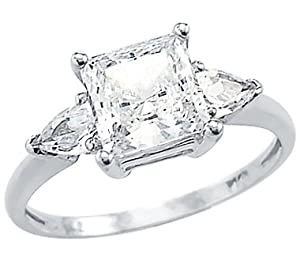 Size- 6.5 - Solid 14k White Gold Ladies Princess Cut CZ Cubic Zirconia Engagement Ring 2.0 ct from Sonia Jewels