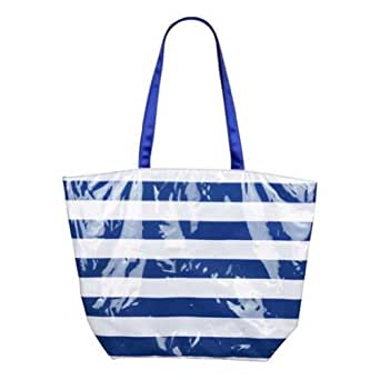Fashionable Oversized Striped Beach Tote Bag Navy