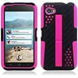 HTC First / M4 [AT&T] Hybrid Double Layer Armor Case w/ Built-in Kickstand ((Pink / Black))