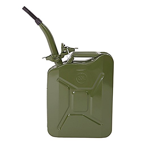 GOTOBUYWORLD 5 Gal 20L Portable American Fuel Oil Water Petrol Diesel Storage Can - Jerry Can Gasoline Gas Fuel Can - Steel Tank Emergency Backup Gas Caddy Tank - Army Military (Jerry Cans Gasoline compare prices)