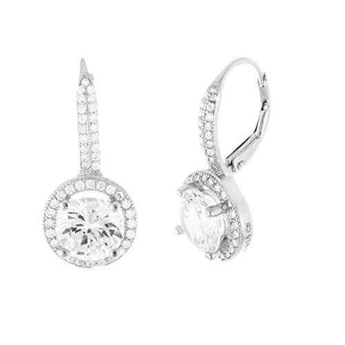 SPECIAL-OFFER-18K-White-Gold-Sterling-Silver-11mm-Round-Halo-Cubic-Zirconia-Lever-Back-Earring