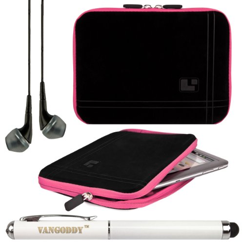 Sumaclife Protective Bubble Padded Sleeve Cover For Visual Land Prestige Pro 8Q (Me-8Q-16Gb) 8-Inch Tablet + Laser Stylus Pen + Black Headphones (Pink Trim)