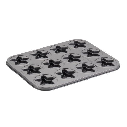 Cake Boss Novelty Nonstick Bakeware 12-Cup Star Molded Cookie Pan, Gray