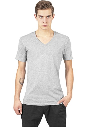Urban Classics TB497 V-Neck Pocket Tee T-shirt Collo a V Manica Corta Tasca (Grey, S)