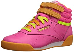 Reebok Freestyle High Classic Shoe (Little Kid/Big Kid), Solar Pink/Sunset Orange/Solar Yellow/White, 7 M US Big Kid