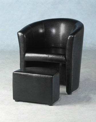 LUXURY FAUX LEATHER TUB CHAIR WITH FOOTSTOOL IN ANTIQUE BLACK BY CENTURION PINE