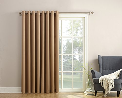 Sun Zero Barrow Extra Wide Energy Efficient Grommet Patio Door Curtain Panel, 100 x 84 Inch, Taupe (Blind For Glass Door compare prices)