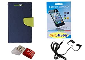 StilMobil Blue Diary With Flap Protection Kit For Samsung Galaxy S6 - Screen Cover, EarPhone, Card Reader