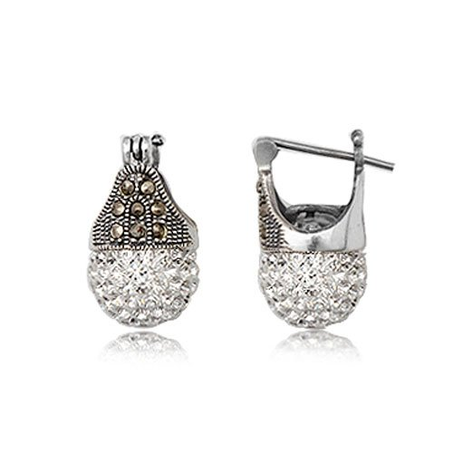 925 Sterling Silver Marcasite With White Swarovski Crystal 12mm Earring