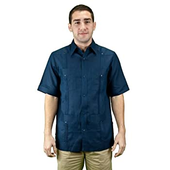 Mens cuban shirt clothing guayabera navy.