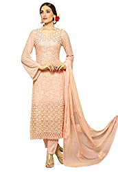 Zombom Peach Georgette Embroidered Un-stitched Salwar Suit