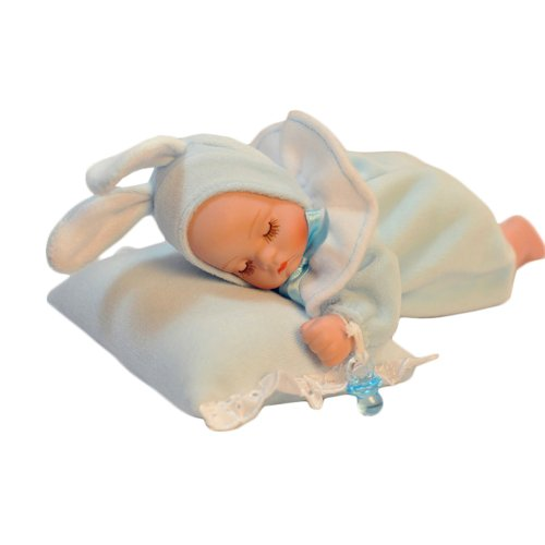Tummy Sleeping Baby Wearing Blue Rabbit Costume Music Box Personalized Christmas Gifts front-827148