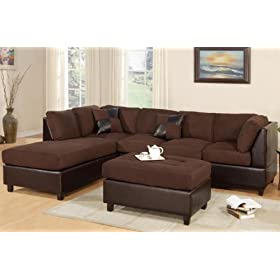3pcs Sectional Sofa Set with Ottoman in Chocolate Finish