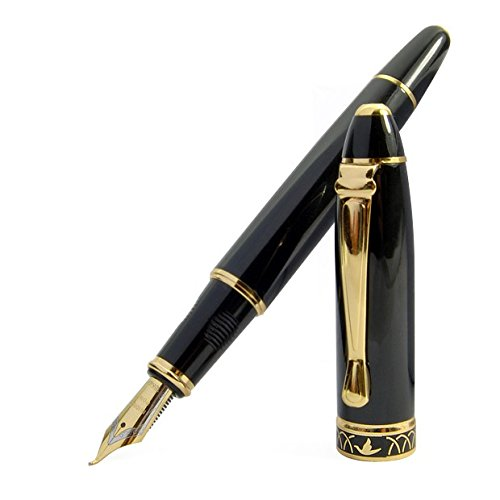High Quality Vintage Black Calligraphy 1.7 mm Fountain Pen Chrome Ring & Tip with Push in Style Ink Converter 3