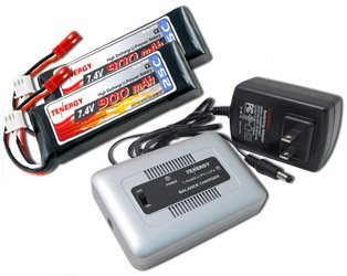 Two Tenergy LiPo 7.4V 900mAh 25C batteries for RC CX2 Helicopters with One Tenergy 1-4S balance charger