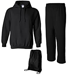 Gildan Men\'s Heavy Blend Sweatsuit, Top: 2XL / Bottom: XL, Black