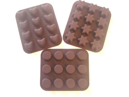 MaxxGoods - Lot De 3 Moules À Chocolats En Silicone - Résiste Aux Températures Entre -60 °C Et +280 °C - 12 Cœurs/12 Étoiles/12 Ronds - 12 X 14 Cm