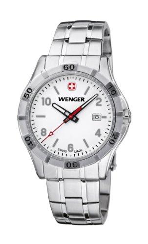 Wenger Platoon 01.9411.102 - Reloj analógico de cuarzo para hombre, correa de acero inoxidable color plateado (agujas luminiscentes)