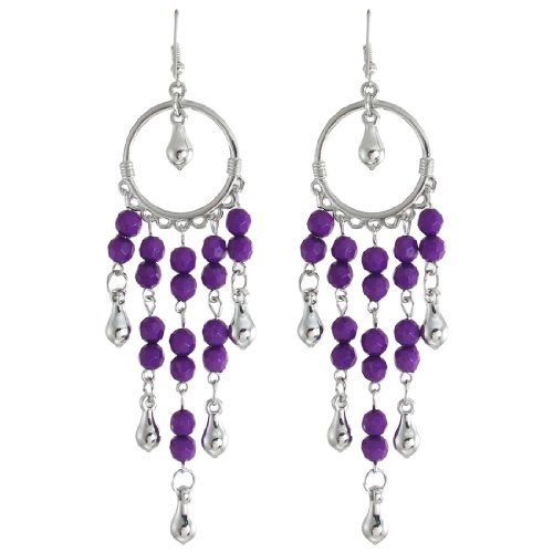 Women Purple Plastic Beads Accent Silver Tone Round Pendant Earrings
