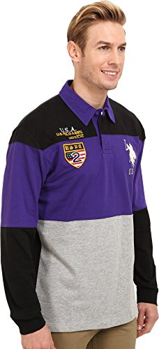 U.S. Polo Assn. Men's Jersey Color Block Rugby, Dark Violet, X-Large